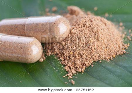 Closeup comprimidos na folha