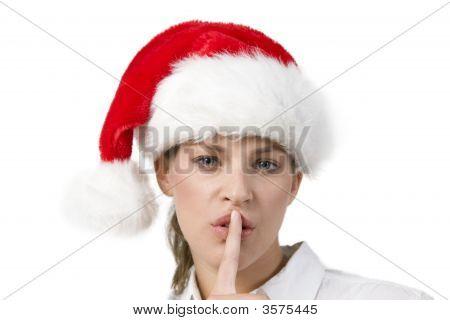 Santa Woman Shushing