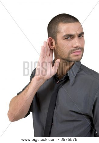 Young Man Hard Of Hearing