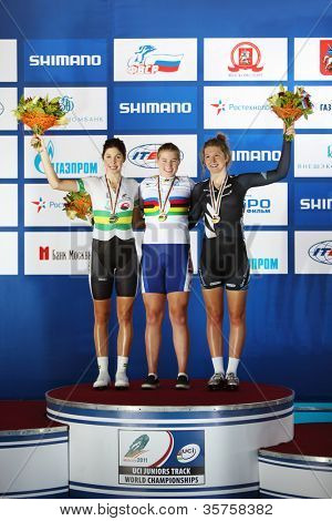 MOSCOW - AUGUST 19: Winners at UCI juniors track world championships on August 19, 2011 in Moscow, Russia. (Stephenie McKenzie (New Zealand), Jennifer Valente (USA), Adele Sylvester (Australia)