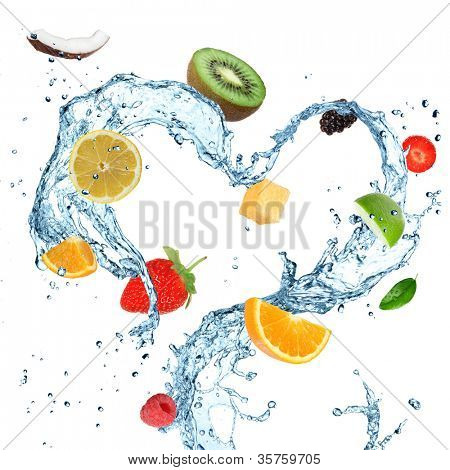 Fruit in water splash heart