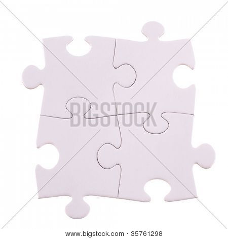 Four Puzzle pieces isolated on the white  background cutout
