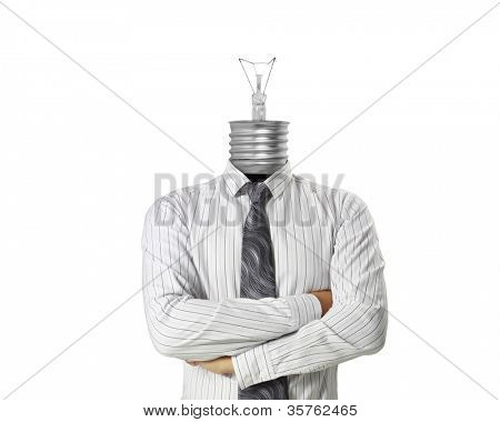 dea concept, lamp head businessman