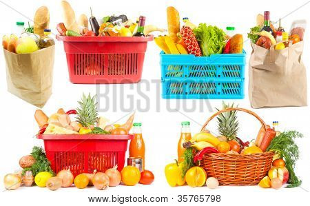 Collection of baskets and bags with food on white background