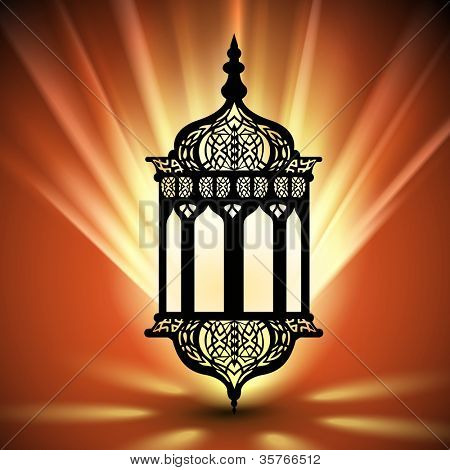 Intricate arabic lamp with lights shiny rays background for Ramadan Kareem and other events. EPS 10.