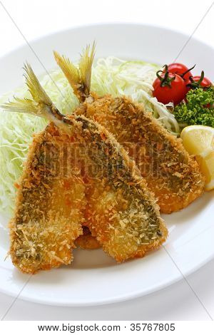 deep fried horse mackerel(aji furai), japanese cuisine