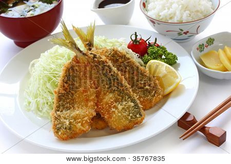 japanese lunch set meal, aji fry teishoku(deep fried horse mackerel, rice and miso soup)