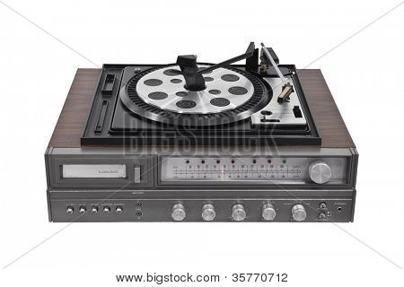 Vintage turntable stereo receiver isolated with clipping path.