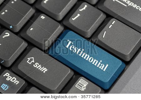 Testimonial on keyboard