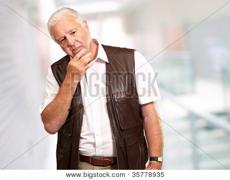 Portrait Of Sad Old Man, Indoor