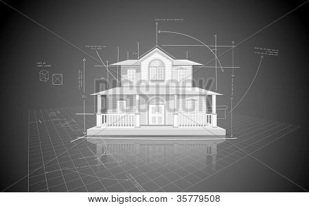illustration of house model on blue print