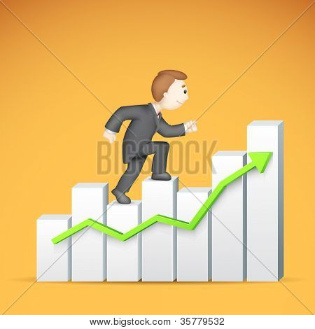 illustration of 3d business man in vector climbing bar graph