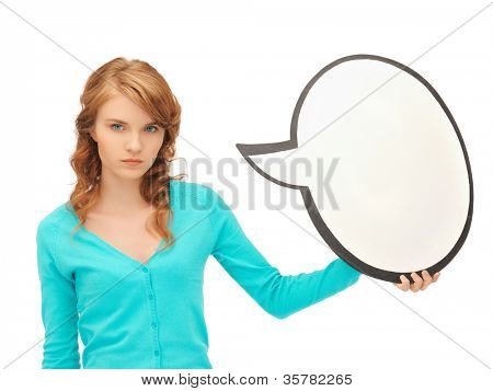 picture of attractive teenage girl with blank text bubble