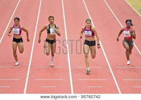 LINZ, AUSTRIA - FEBRUARY 2 Katerina Cechova (Czech Republic, #808) wins the women's 60m sprint event on February 2, 2012 in Linz, Austria.