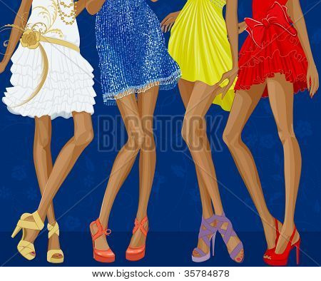 Long legs of four chic girls dressed in evening gowns and shoes on stiletto heels over a blue floral background.