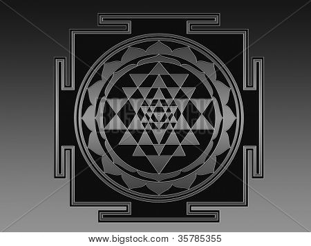 Sri Yantra (Sri Chakra) illustration. Please search the web for more information about this difficult geometrical figure. There are many incorrect Sri Yantra illustrations, but this one IS CORRECT.