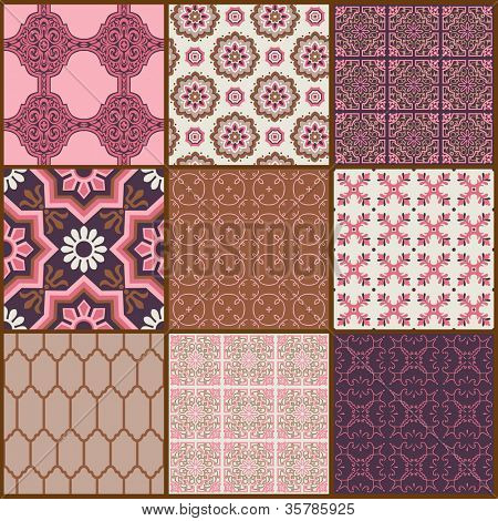 Seamless background Collection - Vintage Tiles and Flowers - for design and scrapbook - in vector