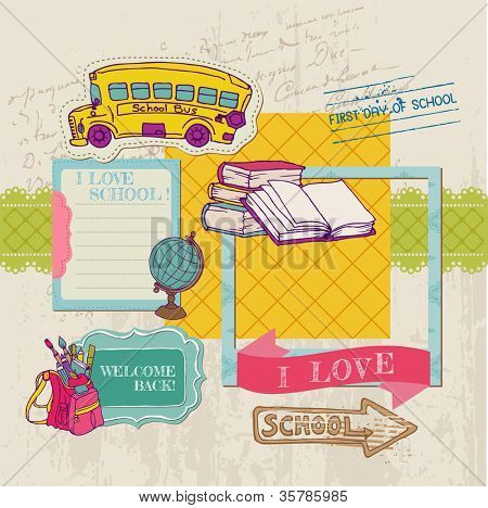 Scrapbook Design Elements - Back to School - for design and scrapbook in vector