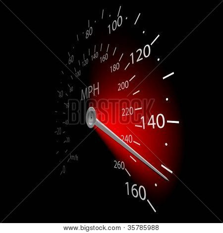Illustration of the speedometer on dark background. Vector.