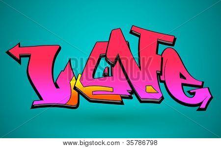 Graffiti Urban Art Vector Design of Love Word