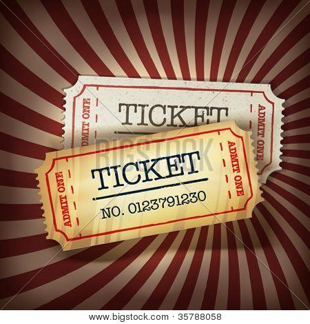 Gouden en regelmatige tickets concept illustratie. Vector, EPS10