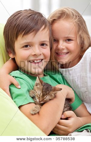 Happy kids holding their new pet - a little kitten asleep in their arms