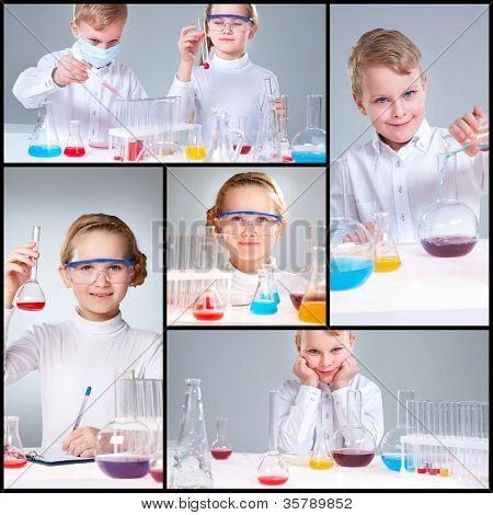 Collage of young prodigies carrying out scientific experiments