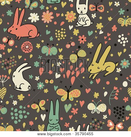 Floral seamless pattern with rabbits and butterflies