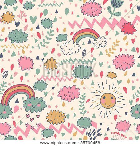 Clouds rainbows rain drops seamless pattern. Vector doodle illustration.