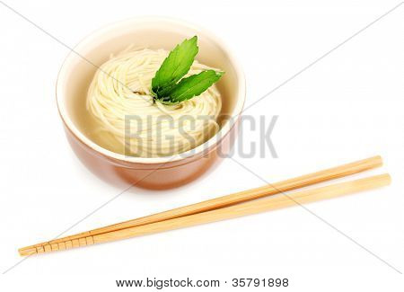asian noodles in bowl isolated on white