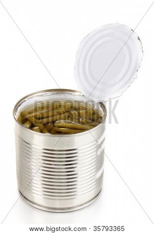 Open tin can of french bean with spoon isolated on white