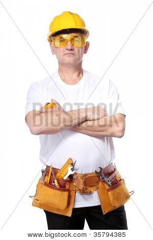 builder with belt construction and glasses isolated on white