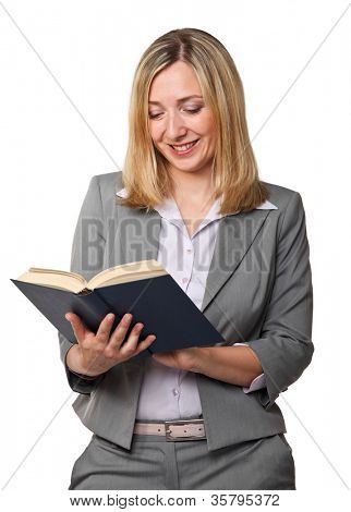 caucasian woman reading a book isolted on white