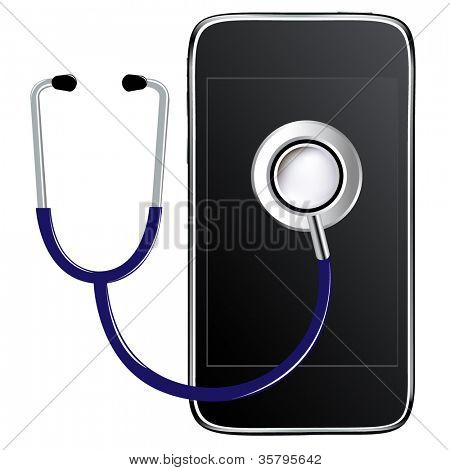 Blue Stethoscope With Mobile Phone, Isolated On White Background