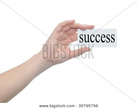 Concept or conceptual human or man hand isolated on white background holding a paper banner with a black text as a metaphor for business,management,marketing,vision,advice,goal,success or strategy