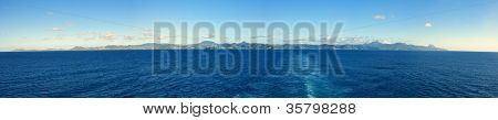 180 degree view of whole island of st lucia, seen from the sea