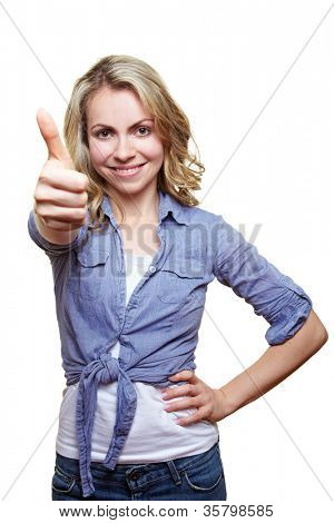 Successful smiling blonde woman holding her thumb up