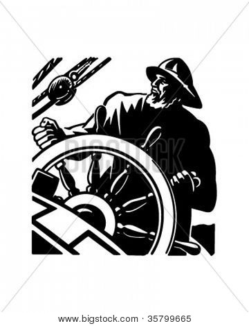 Sailor At The Helm 2 - Retro Clipart Illustration
