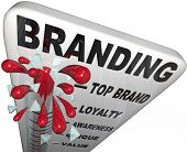 The word Branding on a thermometer measuring your brand loyalty, identity, reputation, credibility, awareness, perception and overall success in your market poster