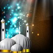 picture of kaba  - Eid Mubarak background with Mosque and Masjid on shiny colorful background - JPG