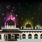 foto of kaba  - Eid Mubarak background with Mosque and Masjid and shiny moon in night - JPG