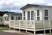 stock photo of trailer park  - Exterior of modern caravan - JPG