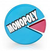 A pie chart with large chunk with the word Monopoly showing unfair competition by a market leader sh