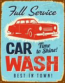 Vintage metal sign - Car Wash - Vector EPS10. Grunge effects can be easily removed.