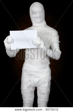 Mummy With Sheet Of Paper