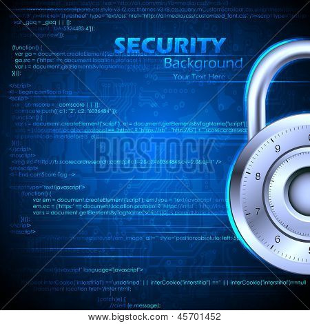 illustration of data security concept with lock on coding background