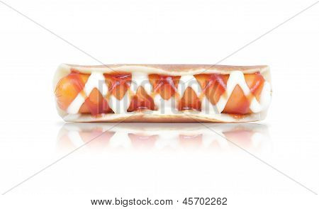 Hot Dog Or Sausage And Crepes Isolated On The White Background
