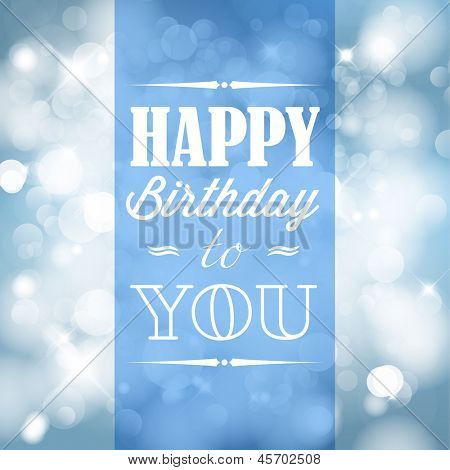Happy birthday retro vector illustration with blue lights in background