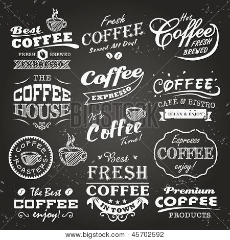 Collection of coffee shop sketches, labels and typography design on a chalkboard background