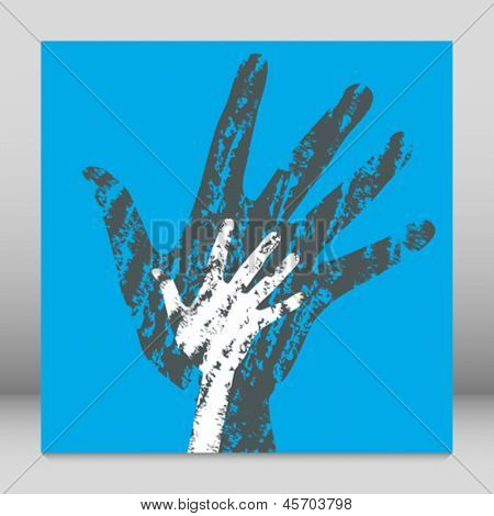 Textured overlapping hands design.